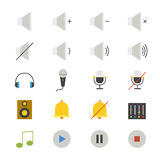Music and Media Flat Icons color Stock Photos