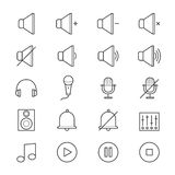 Music and Media Icons Line Stock Photo