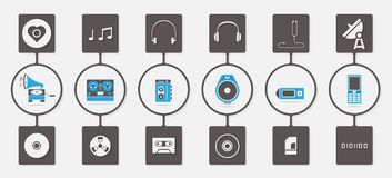 Music media infographic icon set Royalty Free Stock Photo