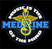 Music is the medicine of the mind, with stylized medicine emblem, medicine snake as a treble clef Stock Image