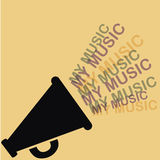 Music and megaphone. Silhouette of a megaphone with music coming out from it Royalty Free Stock Photos