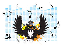 Music melt. Musical creation with a graphic equaliser background covered by music notes Stock Photos
