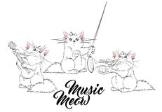 Music meow. Vector set of cute spring cats. Orchestra of charming kittens. Guitarist, trumpeter, conductor. Illustration in sketch style. Three kittens Stock Images