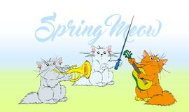 Music meow. Vector set of cute spring cats Orchestra. Music meow. Vector set of cute spring cats. Orchestra of charming kittens. Guitarist, trumpeter, conductor Royalty Free Stock Photography