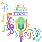 Music Microphone Banner Colorful Style Modern Musical Concert Poster. Flat Vector Illustration Stock Image