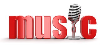 Music with Microphone (clipping path included) Stock Photo