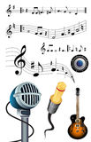 Music, microphone, jack and guitar Stock Photo