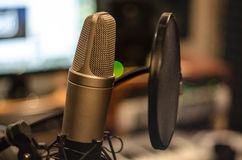 Music. Microphone in the recording studio stock photography