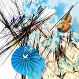 Music of mind. Abstract composition. Violin abd bow in the sky. Silhouette of human head with bird inside. Human elements were created with 3D software and are Royalty Free Stock Image