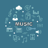 Music minimal outline icons Royalty Free Stock Photography