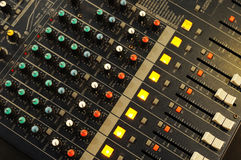 Music mixer. On the desk Stock Photo