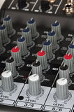 Music mixer. Knobs on a music mixer Royalty Free Stock Photography