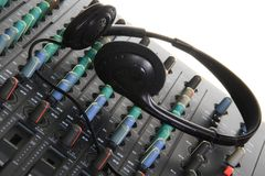 Music mixer. Image of a Music mixer with handphone on the control Stock Photography