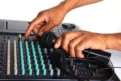 Music mixer. Image of a Music mixer with headphone and microphone Royalty Free Stock Photography