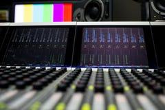 Music Mixer. Close-up of professional digital mixer Royalty Free Stock Photography