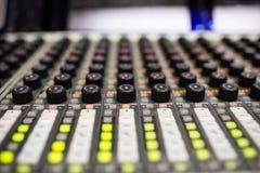 Music Mixer. Button close-up of professional digital mixer Royalty Free Stock Image