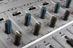Music mixer. Panel of music mixer - closeup view Royalty Free Stock Photo