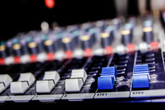 Music mixer with channel. Professional music mixer with channels in studio Royalty Free Stock Photo