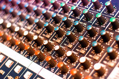 Music mixer with close-up of audio controls Stock Images