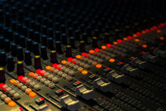 Music mixer closeup. Music mixer in studio closeup Stock Image