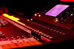 Music mixer console. Recording studio music mixer, during recording a song Royalty Free Stock Photos