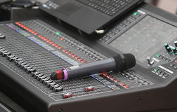 Music mixer control panel with microphone Stock Photography