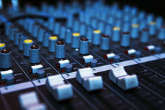 Music mixer desk. In darkness Royalty Free Stock Photography
