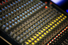 Music mixer desk Royalty Free Stock Images