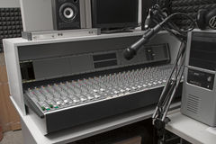 Music Mixer end studio microphone Royalty Free Stock Image