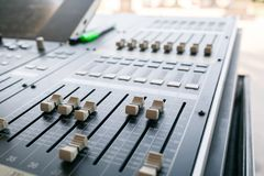 Music mixer equalizer console for mixer control sound device. Sound technician audio mixer equalizer control. Mastering Stock Photo