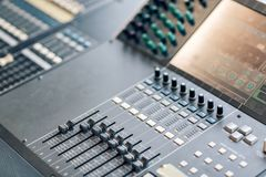 Music mixer equalizer console for mixer control sound device. Sound technician audio mixer equalizer control. Mastering Royalty Free Stock Images