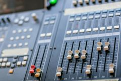 Music mixer equalizer console for mixer control sound device. Sound technician audio mixer equalizer control. Mastering Stock Photos