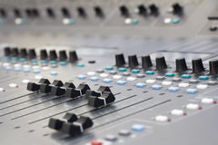 Music mixer. Large Music Mixing desk equipment for sound control Royalty Free Stock Image