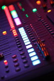Music Mixer Lights. Colourful Lines of Bright Lights on a Music Mixer Royalty Free Stock Photos