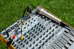 Music Mixer with microphone Stock Images