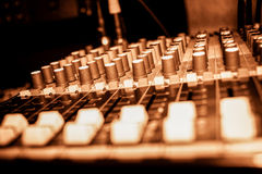 Music mixer. Professional music mixer with channels in studio Stock Photos