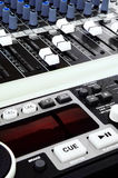 Music mixing console. Graphic equalizers & acoustic mixers on a mixing console for Audiophiles! -Details of a mixer used in live music, audio engineering on an Stock Images