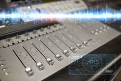 Music mixing console at sound recording studio Royalty Free Stock Photography