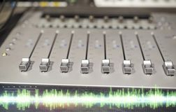 Music mixing console at sound recording studio Stock Photography