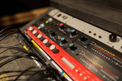 Music mixing console at sound recording studio Stock Image