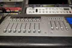 Music mixing console at sound recording studio Royalty Free Stock Images