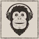 Music monkey vector vintage grunge design. Monkey with headphones t-shirt vector grunge illustration. Chimpanzee listening to music vector illustration