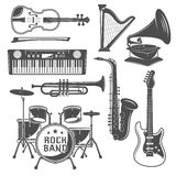 Music Monochrome Elements Set Stock Image