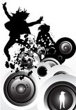 Music Motion. Design featuring women listening to music on mp3's and speakers Royalty Free Stock Photography