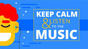 Music motivational wallpaper in flat design. Happy man listening Royalty Free Stock Images