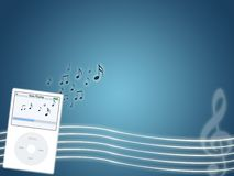 Music mp3 player. Illustration of fashion mp3 portable player for teens Stock Photo