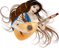 Music muse. Vector illustration of beautiful woman with liute guitar: she is music muse Royalty Free Stock Photo