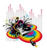 Music! music! music!. Turntable & loudspeakers on grunge-rainbow background Stock Photography
