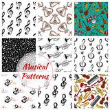 Music, musical instruments seamless patterns set Royalty Free Stock Photography