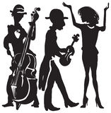 Music, musicians. Singer, violin and Double bass in vector illustration